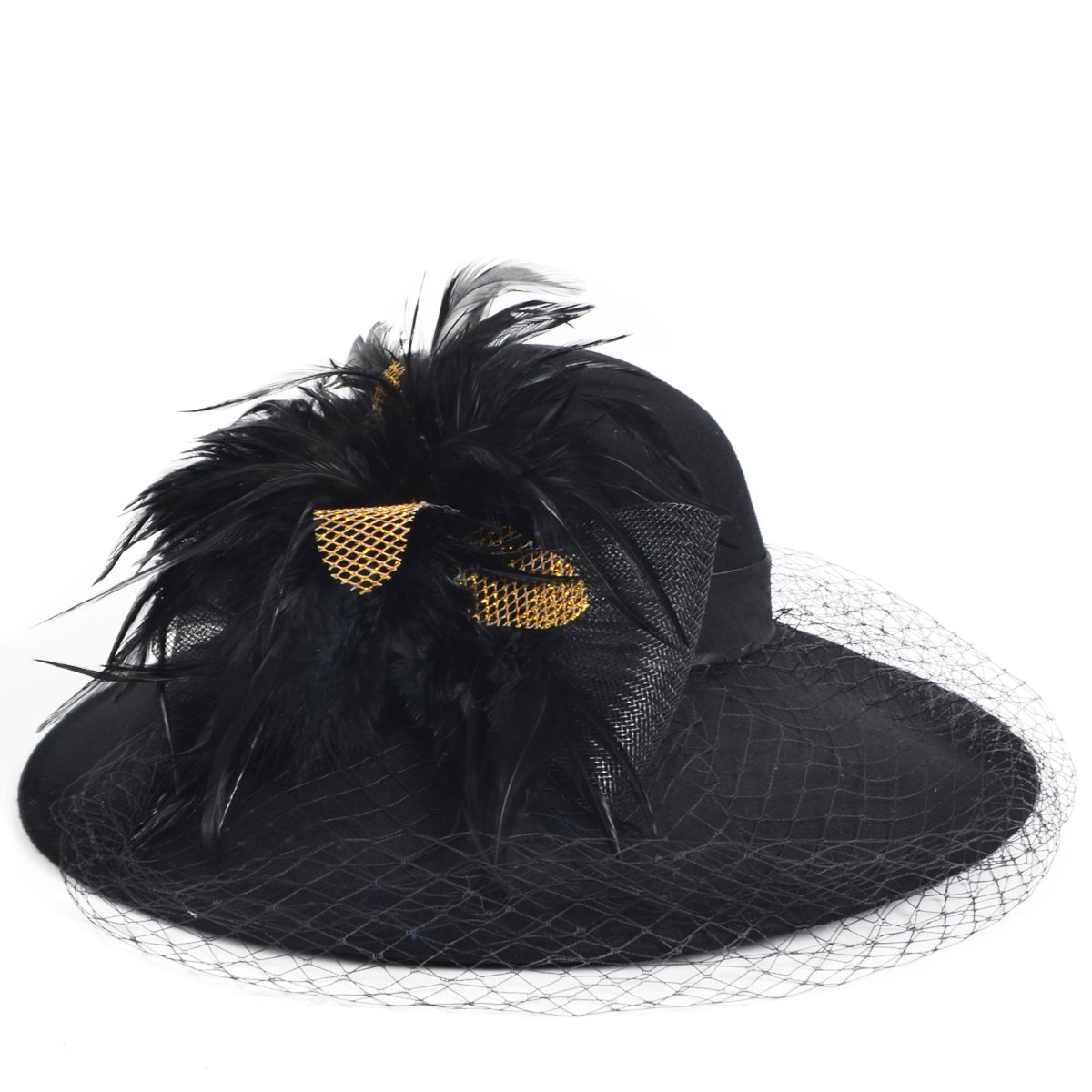 1950s Women's Hat Styles & History FORBUSITE Women Wool Felt Plume Church Dress Winter Hat $29.99 AT vintagedancer.com