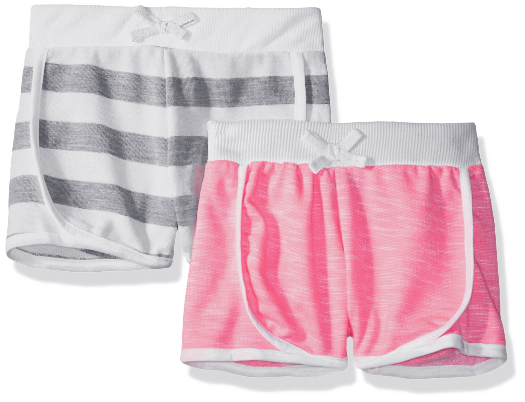 Limited Too Big Girls' 2 Pack Short, White Heather Stripe with Neon Hot Pink/Multi Print, 14/16