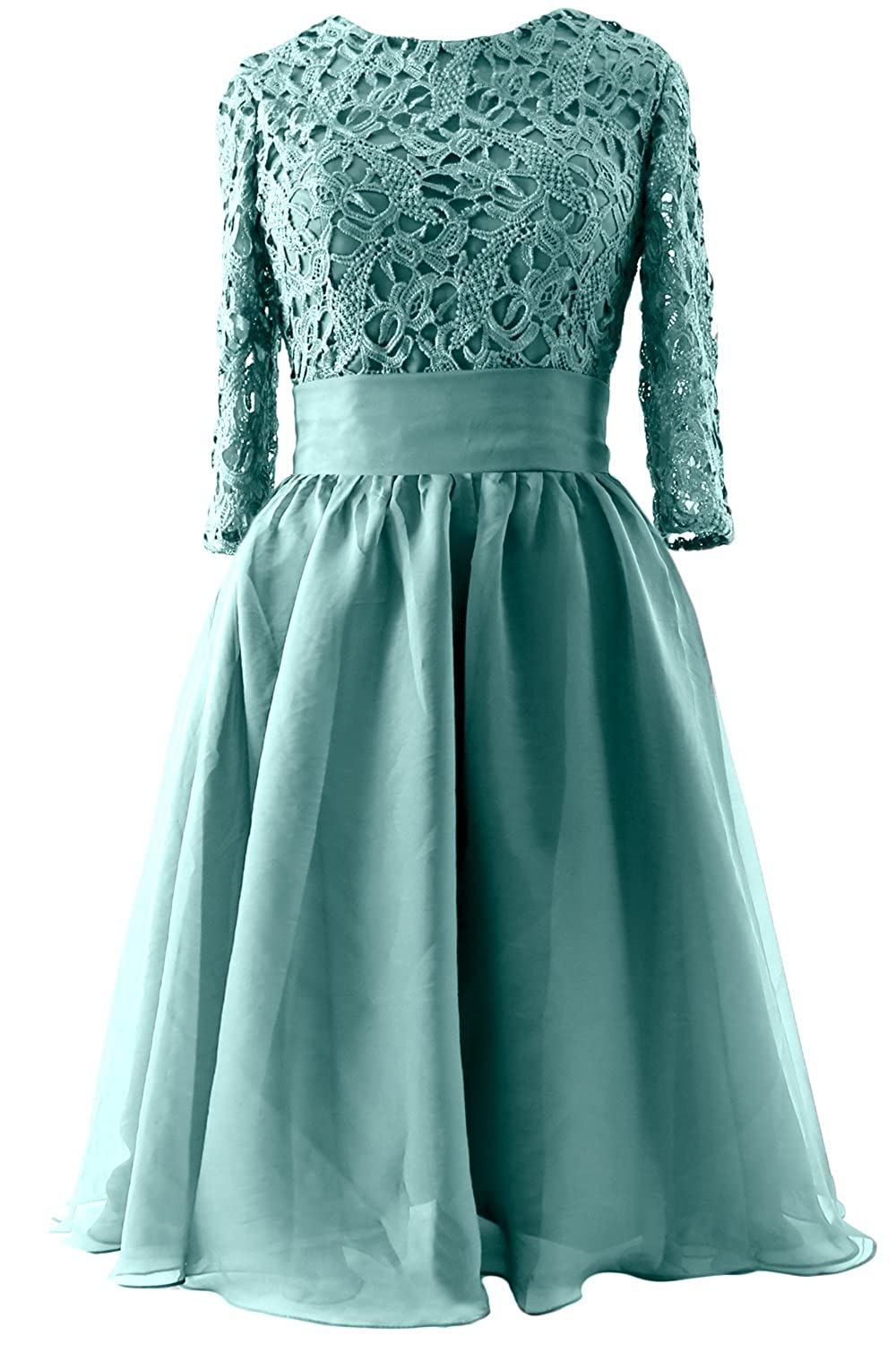 MACloth Women Half Sleeve Lace Short Mother of Bride Dress Formal Evening Gown