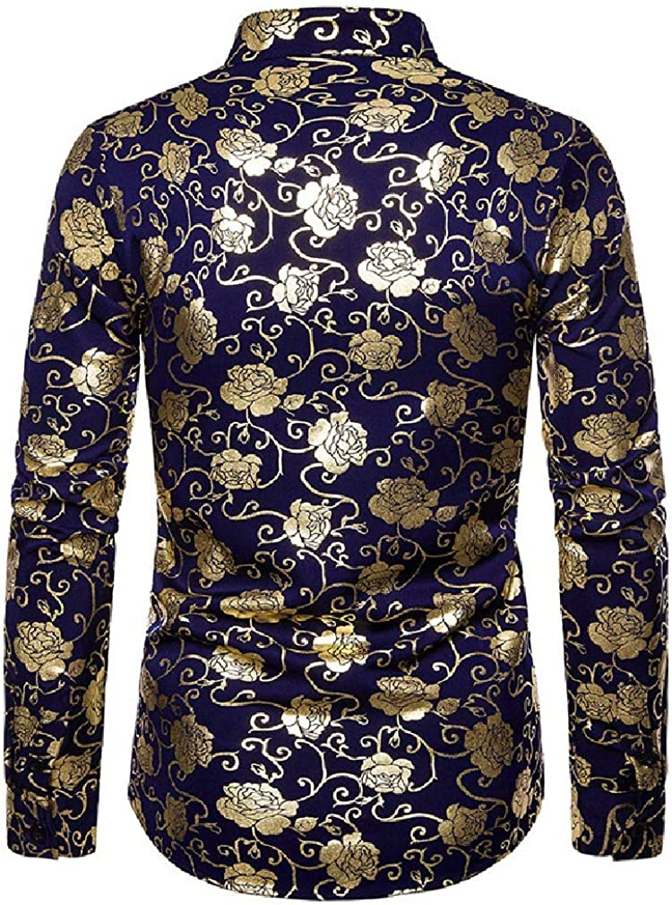 Sayah Mens Spring//Fall Floral Long-Sleeve Silm Fit Cardi Gilded Shirts