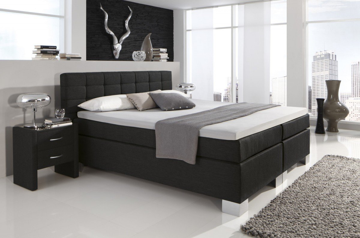 dreams4home boxspringbett manhattan kt2 schwarz 100 140. Black Bedroom Furniture Sets. Home Design Ideas