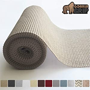 "Gorilla Grip Original Drawer and Shelf Liner, Non Adhesive Roll (12"" x 20' Size) Durable and Strong, for Drawers, Shelves, Cabinets, Storage, Kitchen and Desks (Beige)"