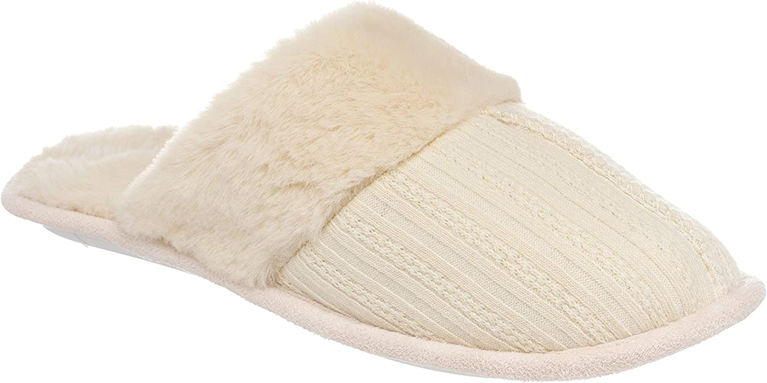 26 Accessories Women's Cable Knit Slippers Memory Foam House Shoes w/Faux Fur