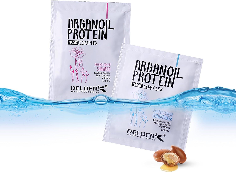 delofil conjunto de aceite de argán Champú y Acondicionador de Proteína de viaje sobre a proteger el cabello color 15 ml * 10 paquetes