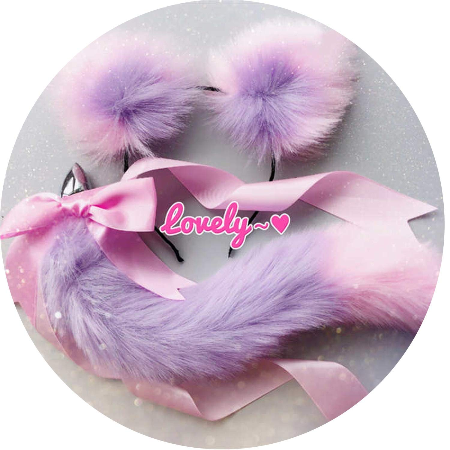 XJWYCYY Tshirt Hollow Plug Butt Cute Soft Cat Ears Headbands with T-àil Bow Metal Butt A-nàl Plug Erotic Cosplay Accessories Adult Sex Toys for Couples,Purple Pink,