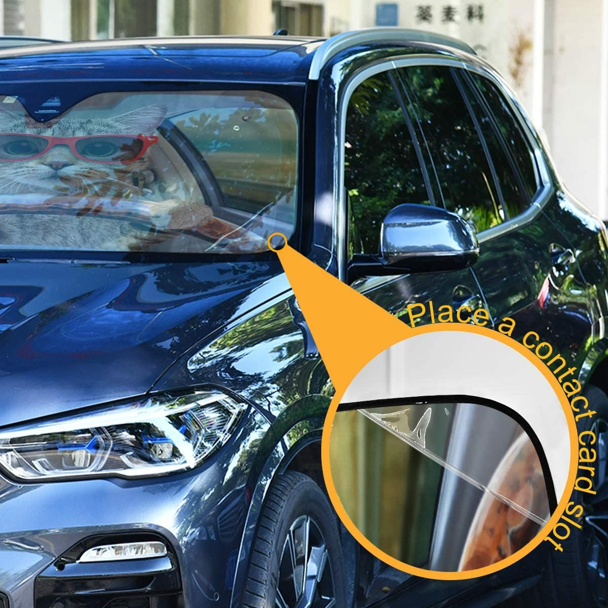 Oarencol Yellow Eyes Black Panther Car Windshield Sun Shade Foldable UV Ray Sun Visor Protector Sunshade to Keep Your Vehicle Cool 55 x 27.6