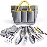 Jardineer Garden Tools Set, 8 PCS Gardening Tools Kit with Garden Bags and Gardening Gloves, Perfect Gardening Tool Gifts Set for Women