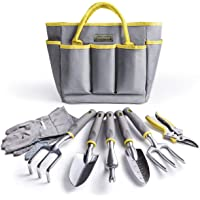 Jardineer Gardening Tools-8 Piece Outdoor Gardening Set with Gardening Gloves and Pruner, Gardening Gifts for Women & Men, Heavy Duty Tote Bag with Hand Tools