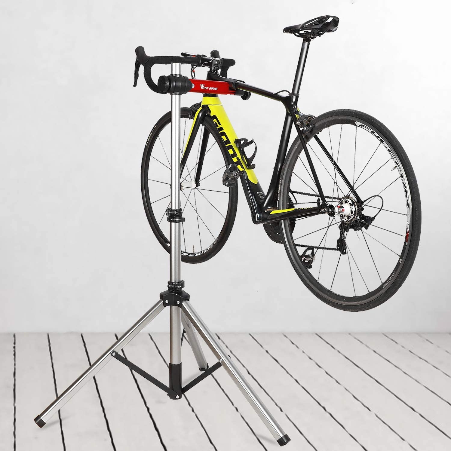 WESTLIGHT Bike Stands for Maintenance Adjustable Clamp to 7 CM 360/° Rotatable 85-150 cm Height Tool Tray Foldable Robust Bike Work Stand Bike Cleaning Stand for All Types of Bikes Up to 38.6 Kg
