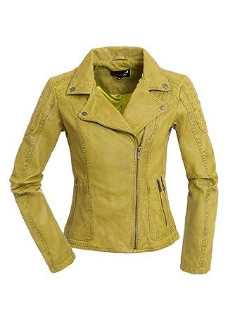 sehr bequem kostengünstig erstklassige Qualität Coole Damen Lederjacke Biker Jacke Lika in Gelb/Grün aus ...