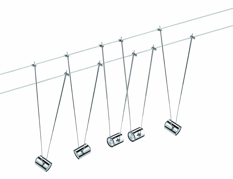 Paulmann 940.59 Seilsystem TeleComet2 Set Warmweiß 5x20W Chrom 94059 Seilleuchte Hängeleuchte
