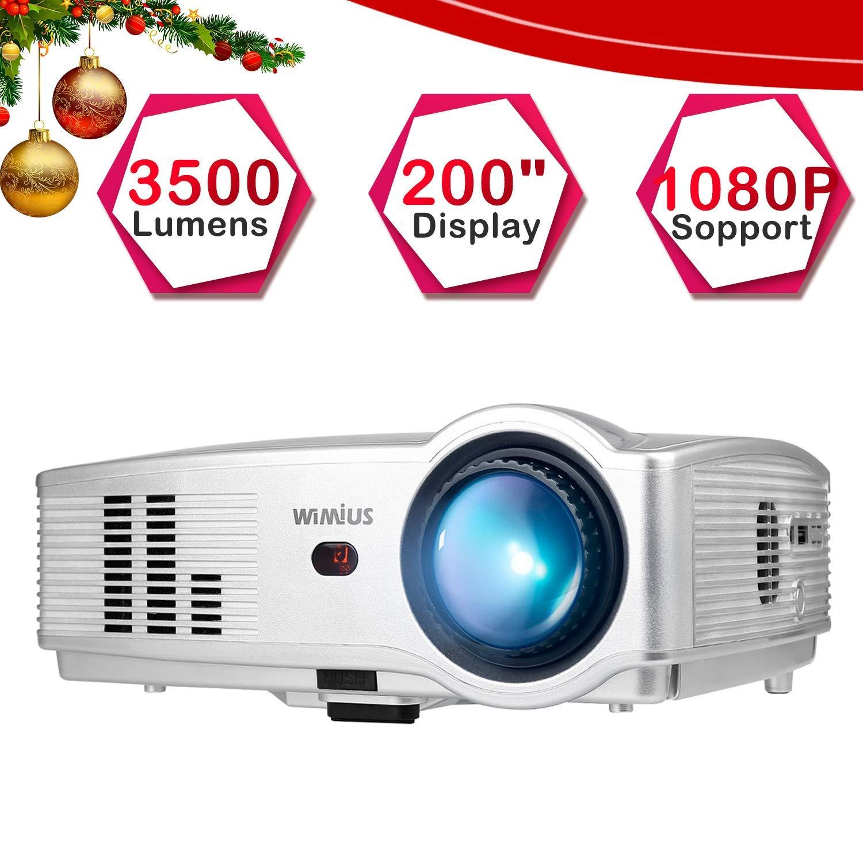 Proyector, WiMiUS Video Proyectores 3500 Lúmenes Soporta Full HD 1080P Proyector Cine en casa 50000 Horas con Puerto HDMI VGA USB SD para Amazon Fire ...
