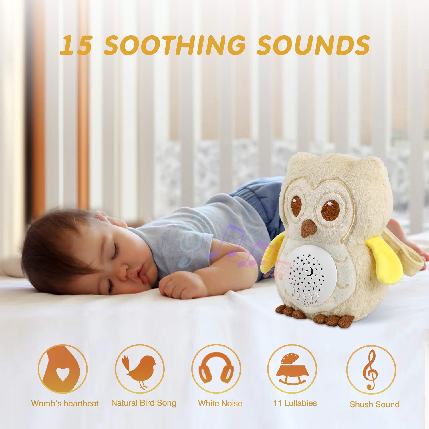 Lullabies /& Shusher White Noise Machine Sound Soother Toddler Crib Sleep Aid Baby Shower Gifts Portable Owl Plush Toy Nursery Decor Night Light Projector BEREST Baby Sleep Soother Owl
