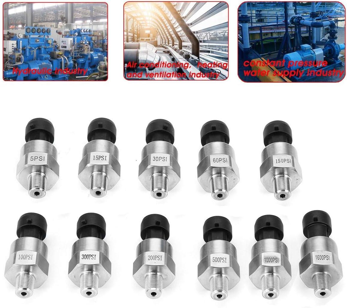 5V Water Oil Fuel Pressure Transducer Sender Sensor 15 100 300 500 1000 1600 Psi