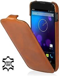 StilGut, UltraSlim, pochette exclusive de cuir véritable pour la Nexus 4 de Google/LG E960, en cognac