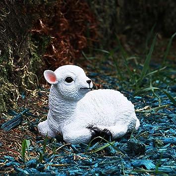 Figura Decorativa para jardín Simulación Animal Cordero Oveja Estatuilla Tarjeta De Bienvenida Resina Impermeable Césped Paisaje Decoración Regalo - (A B) A:23 * 14 * 15cm: Amazon.es: Bricolaje y herramientas