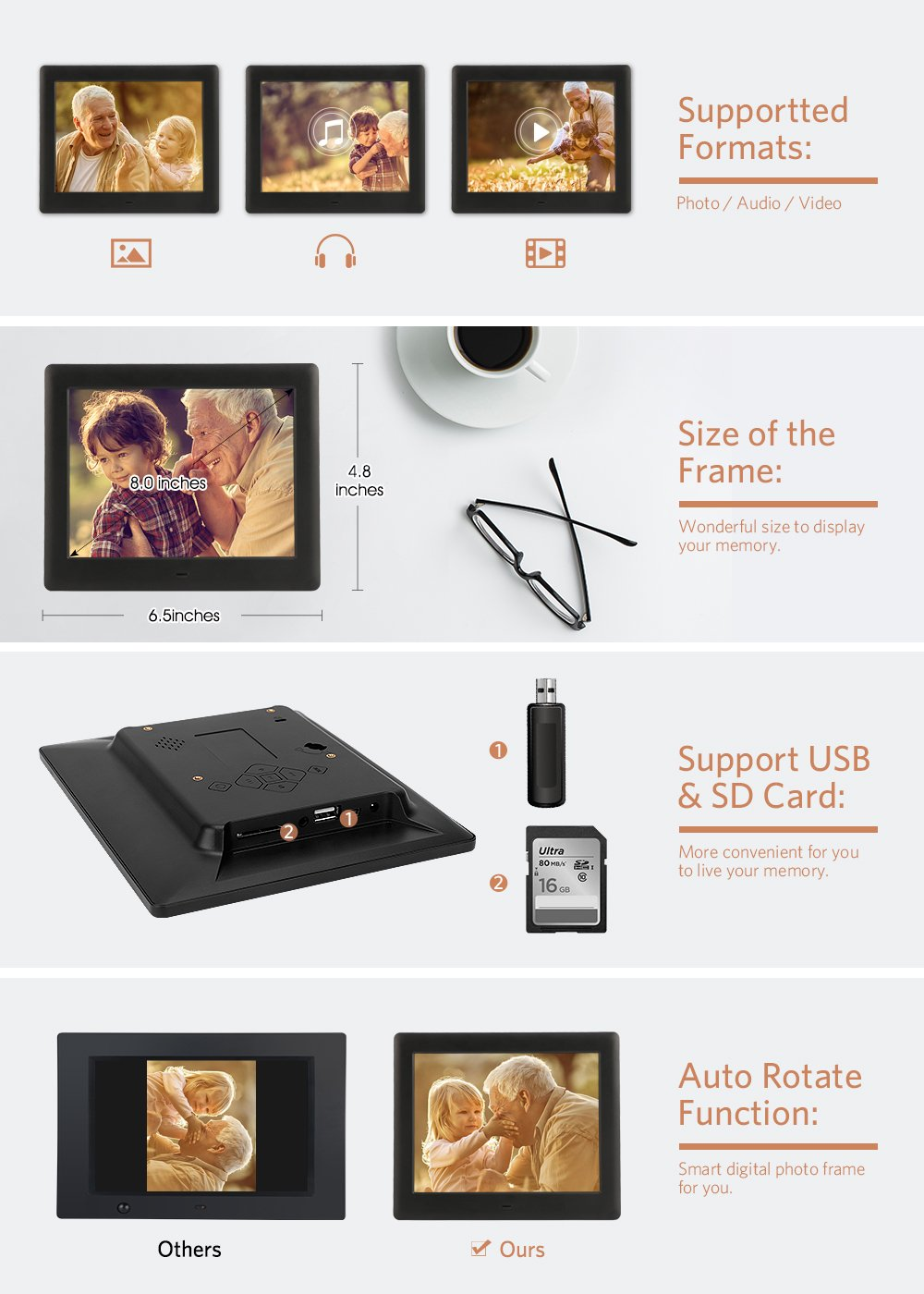 Amazon.com: DBPOWER HD Digital Photo Frame IPS LCD Screen with Auto ...
