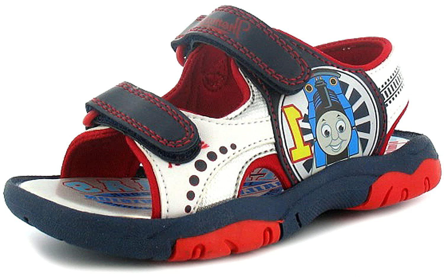 6ca0aca17bd553 New Boys Childrens Navy Multi Velcro Fastening Thomas Tank Sandals -  Navy White Red - UK SIZE 10  Amazon.co.uk  Shoes   Bags