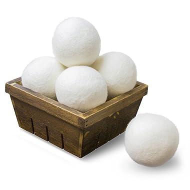 SnugPad Wool Dryer Balls Natural Fabric Softener, White, 6 Count