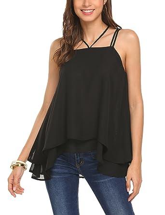 c621d3cb8e71e5 HAPLICA Womens Sleeveless Tank Tops Cami Double Strap Layered Chiffon  Blouse Shirt