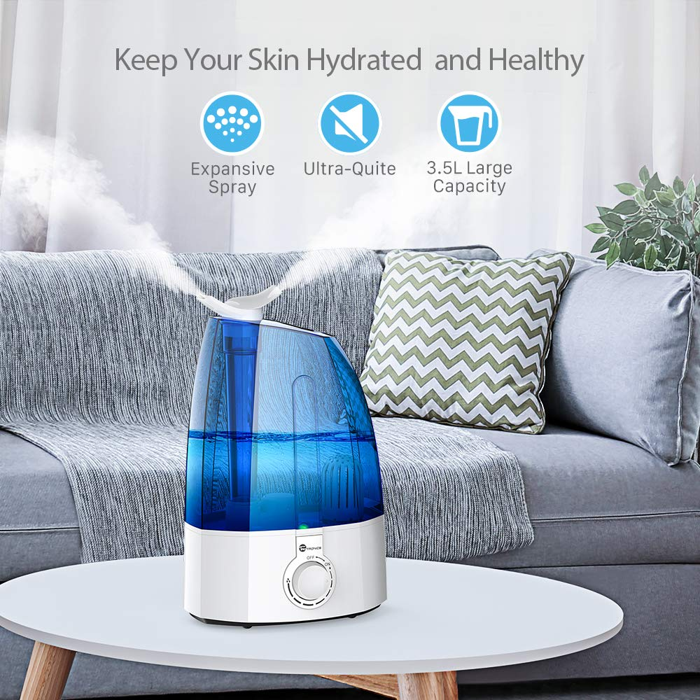 TaoTronics TT-AH002 Humidifiers for Bedroom Home Baby, Cool Mist, with Filter, Two 360 Rotatable Nozzles, Classic Dial Knob Control-Blue 3.5L 0.92 Gallon, US 110V