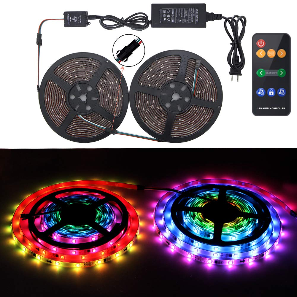 10M//32.8ft Chase Effect Led Lights Kit 5050 RGB Led Rope Lights Waterproof Led Lights Strip with 360 Degree Signals Accept RF Remote 12V AC Adapter Powered abtong ABT-Music Led-10M Led Strip Lights Sync to Music