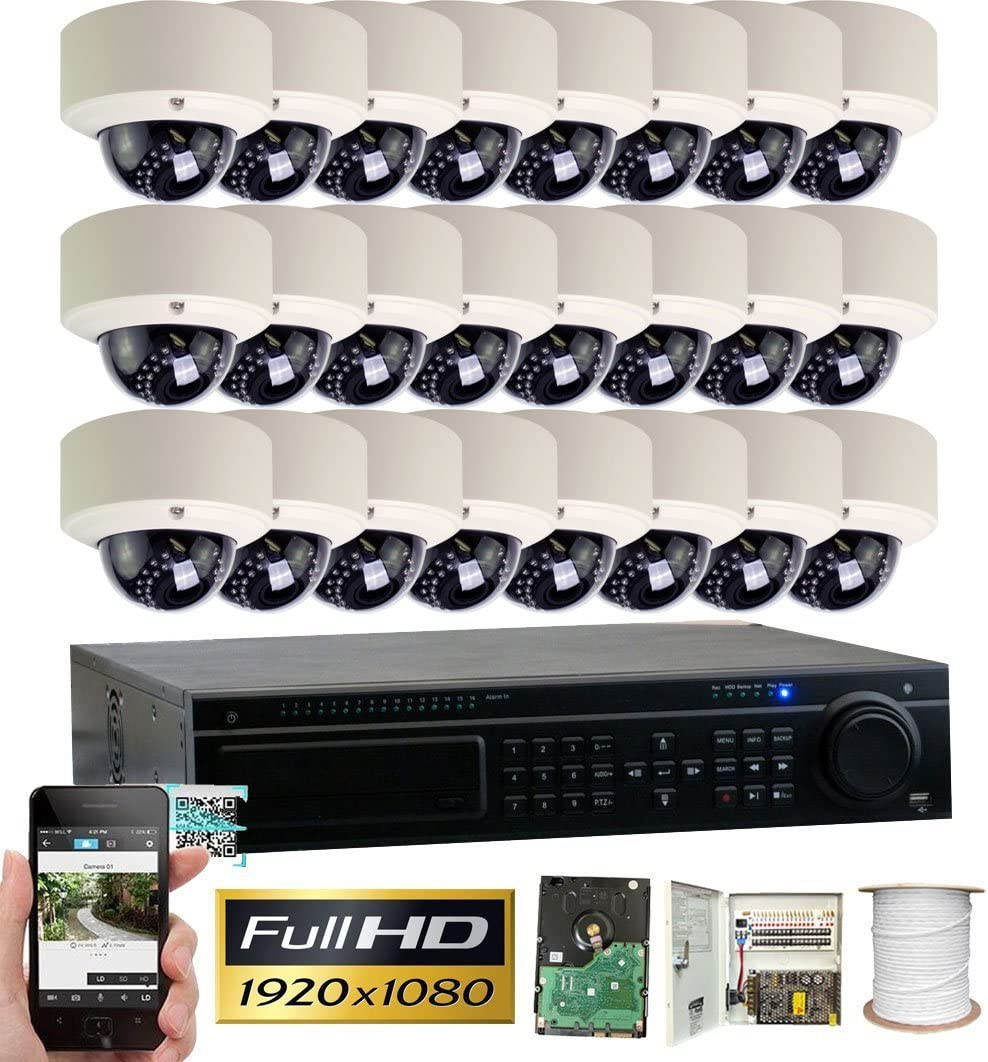 GW Security 32CH HD 1080p DVR Security System, QR-Code Connection, 24 Day Night 1920TVL High Resolution Weatherproof Dome Cameras CCTV Surveillance System 8TB HDD