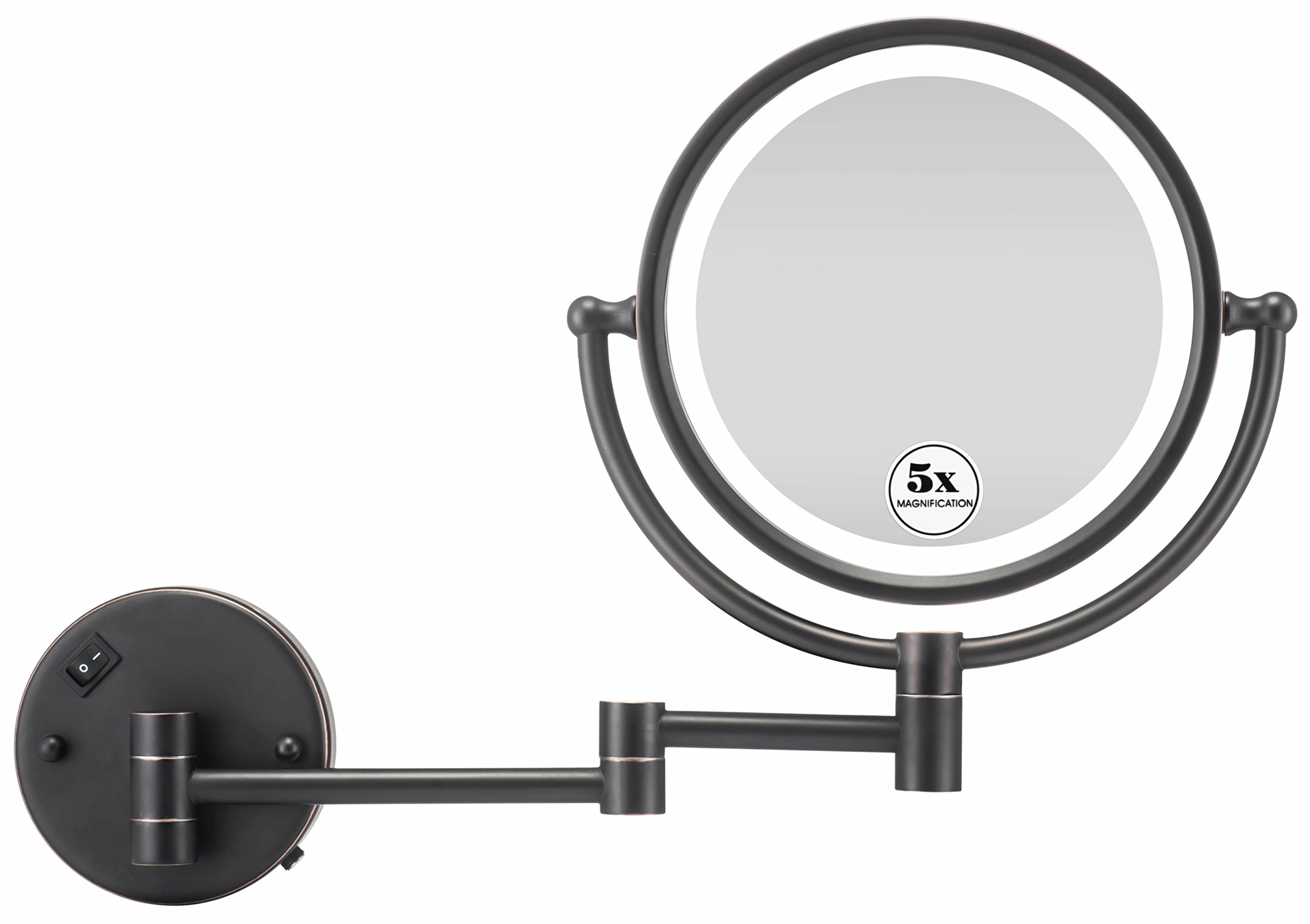 GloRiastar Makeup Mirror Wall Mount LED Lighted with 5X Magnification,Oil-Rubbed Bronze Finish, 8-Inch