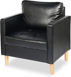 STHOUYN Modern Faux Leather Armchair Accent Chair with Arms, Comfy Tufted Single Sofa Reading Chair Living Room, Office Couch Small Space (1, Black)