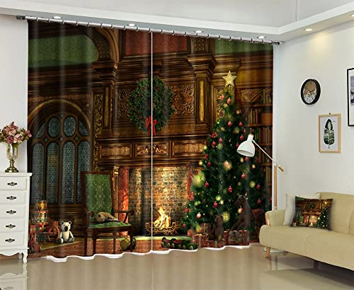 Newrara Christmas Curtain,Christmas Tree in The House with Lights Printed Window Curtain 2 Panels for Living Room Bedroom,Free Hook Included 118W106 L, c1