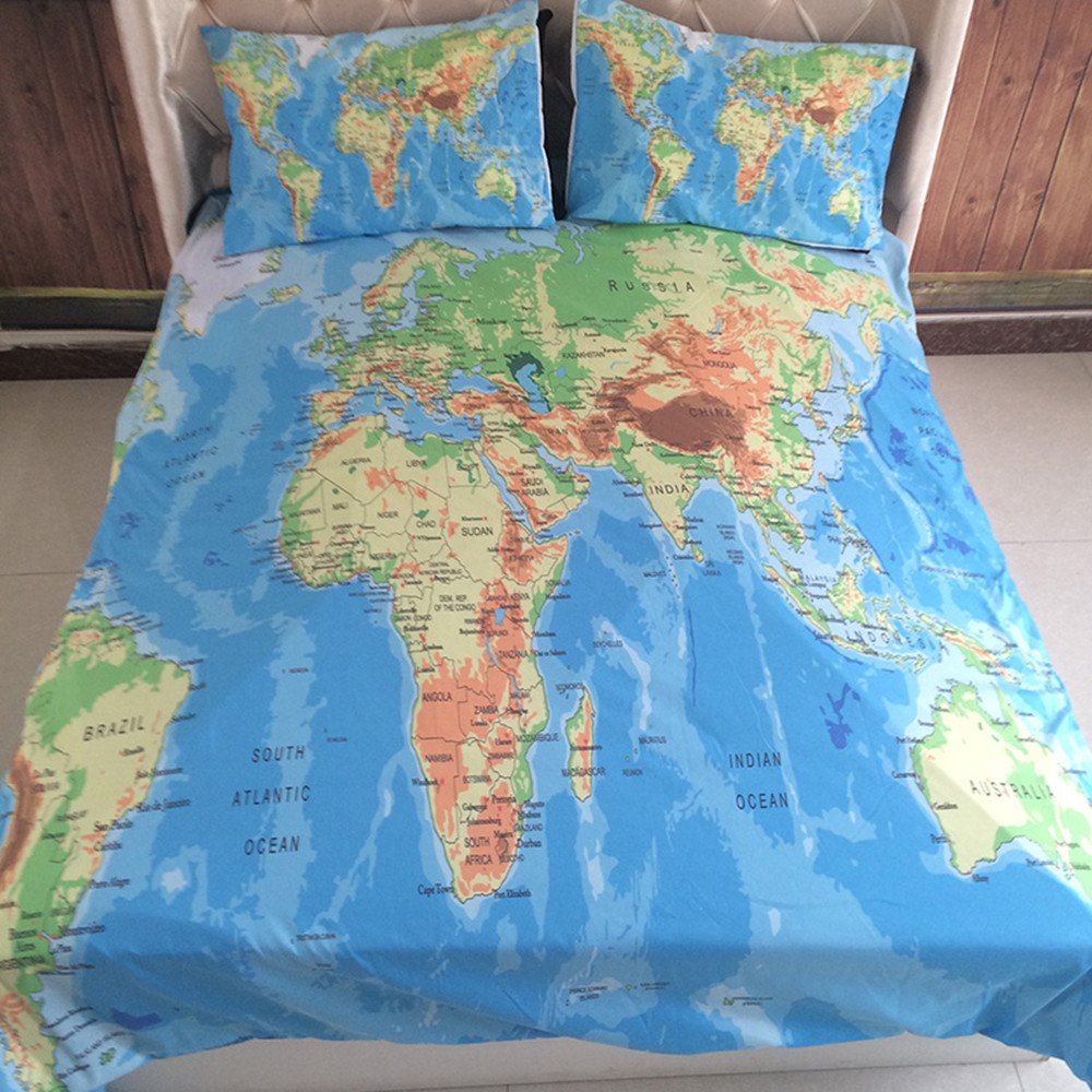 World map bedding set double vivid printed blue quilt cover set world map bedding set double vivid printed blue quilt cover set super soft duvet cover with pillow case for gift amazon kitchen home gumiabroncs Choice Image