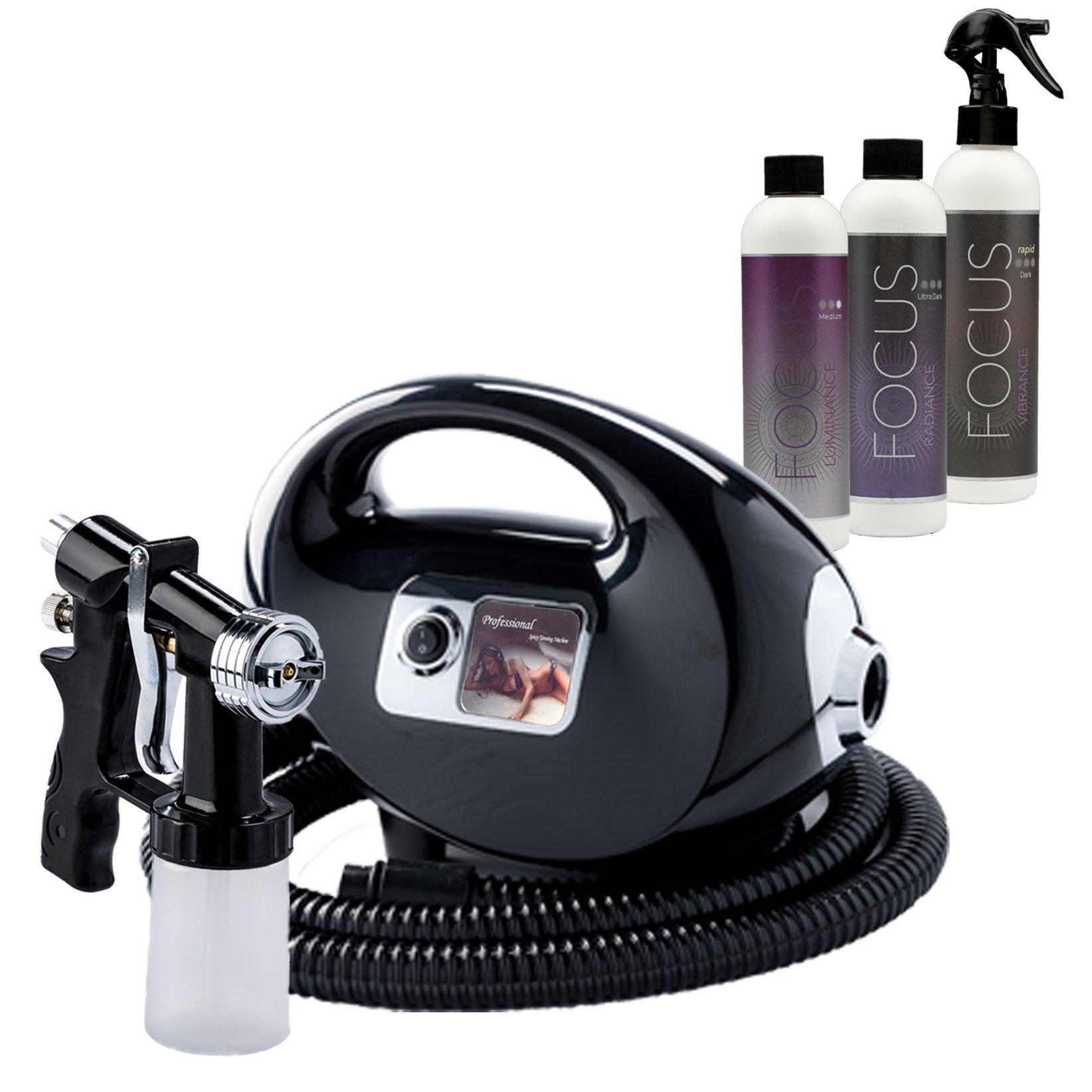 Fascination Spray Tanning Kit Machine Bundle with Tanning Solution(Black)