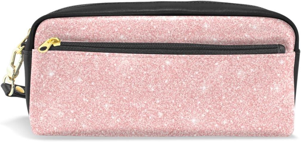 Estuche para lápices, oro rosa con purpurina impresa bolsa de viaje maquillaje gran capacidad impermeable cuero 2 compartimentos para niñas niños mujeres hombres: Amazon.es: Oficina y papelería