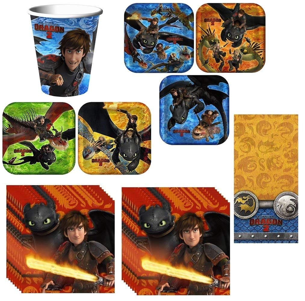 How to Train Your Dragon 2 Deluxe Party Pack Including Plates, Cups, Napkins and Tablecover - 16 Guests