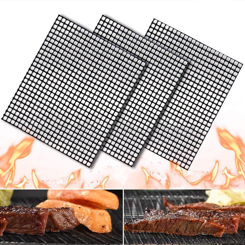 CRZJ BBQ Grill Mat, Teflon Non-Stick Grid mat, Non-Toxic and Tasteless, high Temperature Heat Resistant, 4033cm, 3pcs