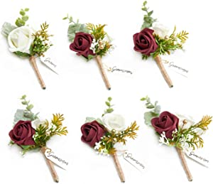 Ling's moment Burgundy Boutonniere for Men Boutonnieres for Wedding Red Groomsmen Boutonniere with Pins Set of 6 for French Fall Rustic Boho Wedding