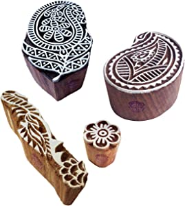 Classy Pattern Paisley and Floral Wood Print Blocks (Set of 4)