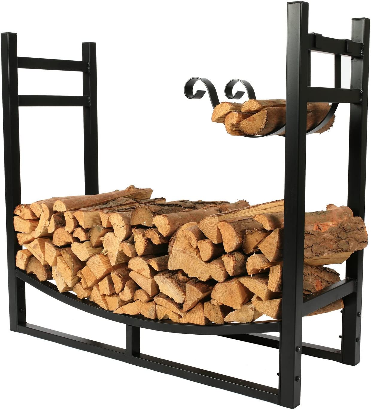1. GO 3 Feet Indoor Outdoor Heavy Duty Firewood Log Rack with Wood Holder, 30 Inch Tall