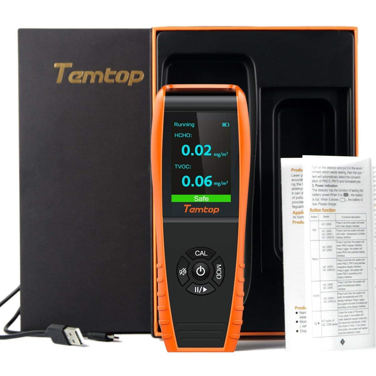 Temtop H3 Air Quality Detector Professional HCHO TVOC Real Time Monitor Audio Alarm TFT Color Screen Rechargeable Elitech