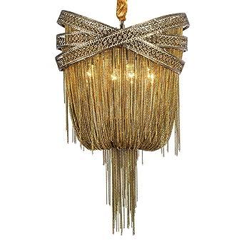 Wenrun Lighting Wohnzimmer Lobby Bronze Goldfarben Aluminium Kette Und  Kristall Quaste Kronleuchter Deckenlampen Hängelampe Lüster Leuchte