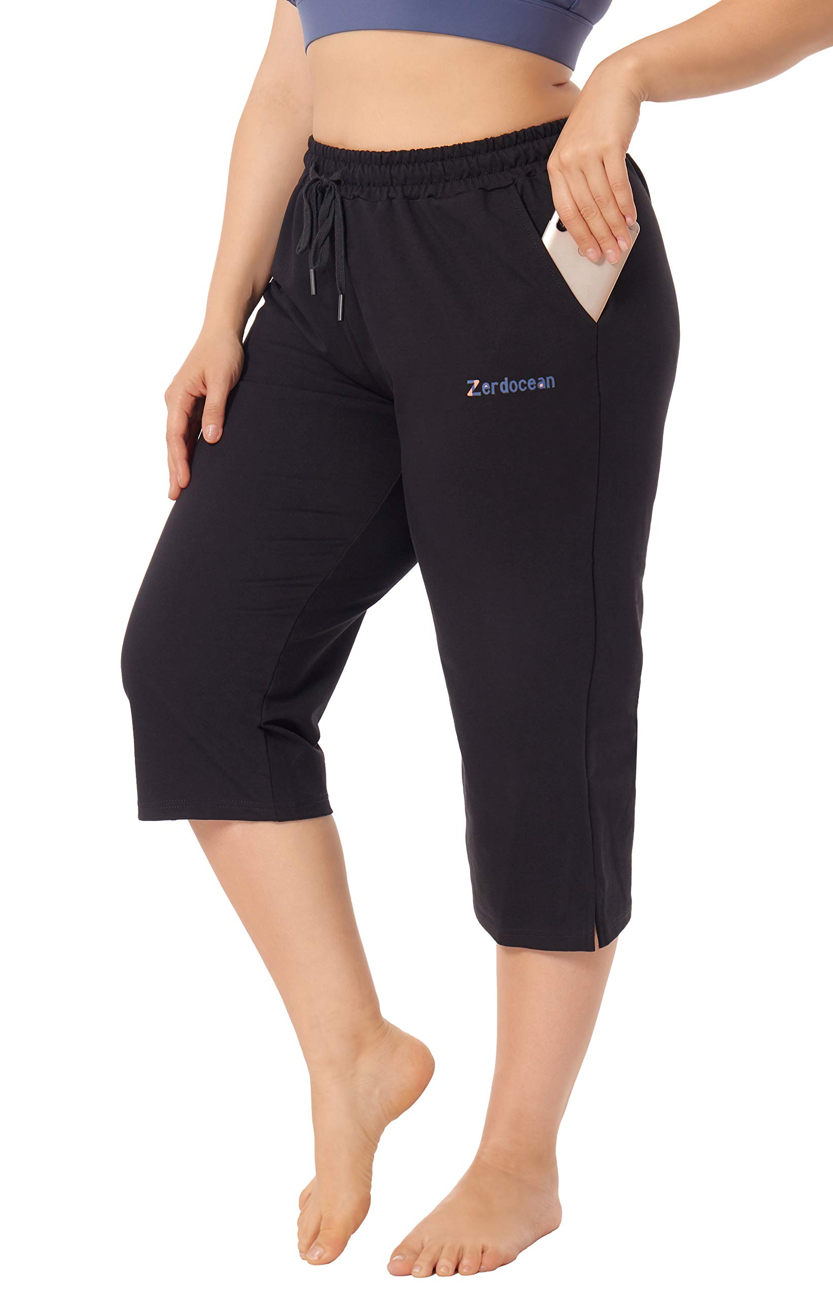 Women's Plus Size Active Yoga Lounge Indoor Jersey Capri Walking Crop Pants with Pockets Drawstring