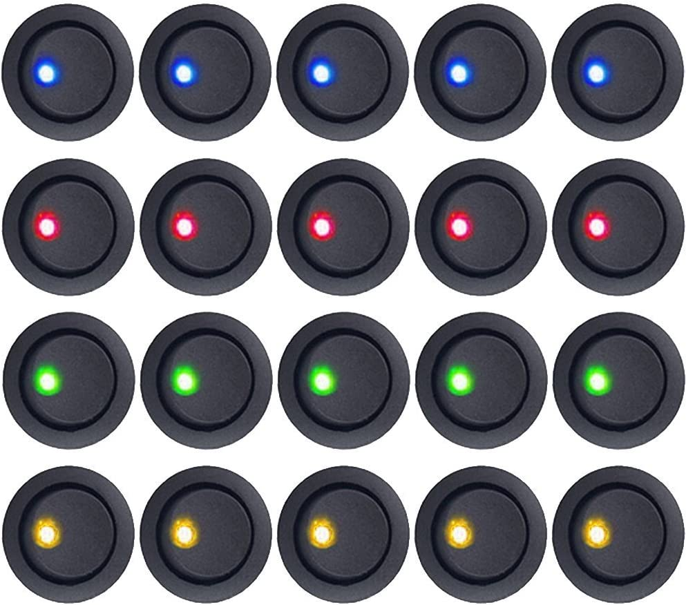 E Support/™ Car Auto Boat LED Light Round Toggle Switch 2Pin Blue Red Green Yellow Pack of 20