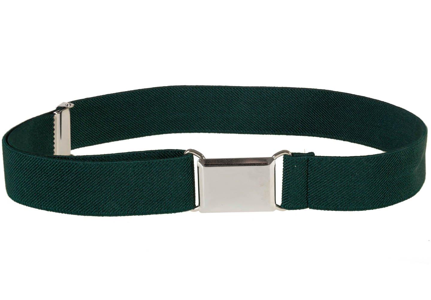 Kids Elastic Adjustable Strech Belt With Silver Square Buckle - Hunter Green