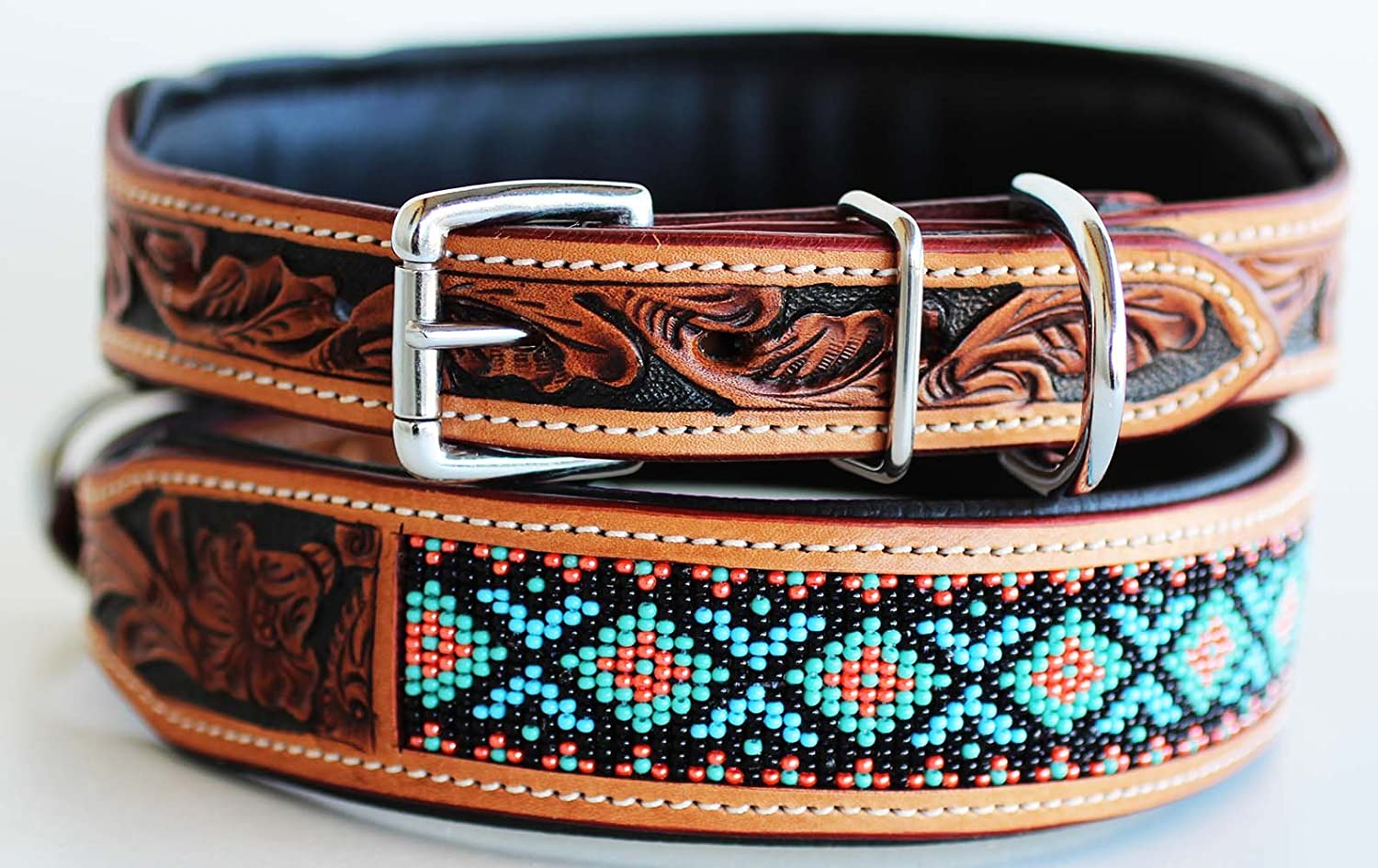XSmall 9''- 13'' Amish Hand Tooled 100% Leather Puppy Dog Collar Adjustable Padded Canine 6057