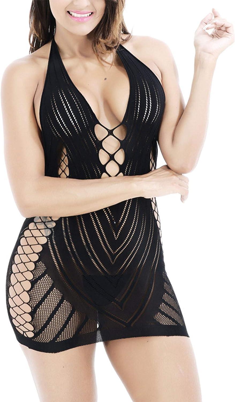 Women Fishnet Bodysuit Underwear Lingerie Mesh Hole Sleepwear Dress 2 Peices