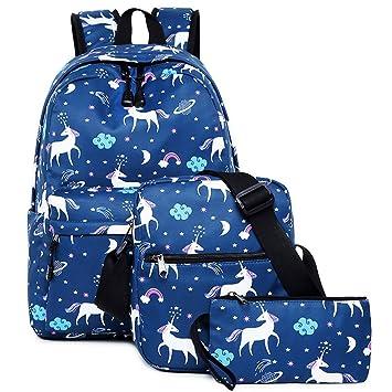 Unicornio Colegio Mochila para niñas,Bolsos escolares para niños Mochila para Adolescentes de Regreso a la Escuela(Paquete de 3)(Azul): Amazon.es: Equipaje