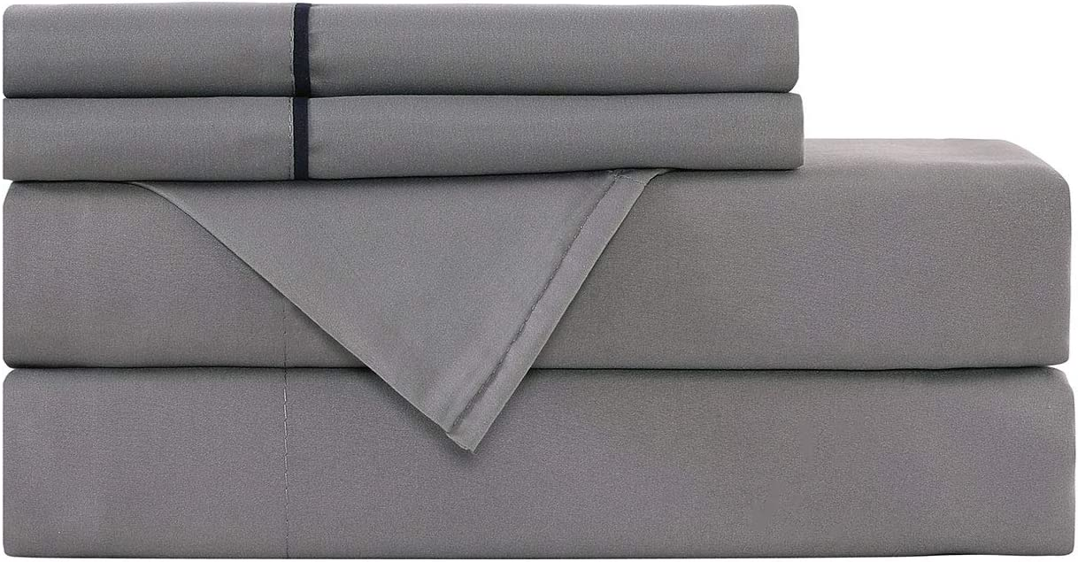 Basic Choice Bed Sheet Set - Light-Weight, Wrinkle & Fade Resistant Microfiber Bedding Sets - 4 Piece (Queen, Dark Gray)