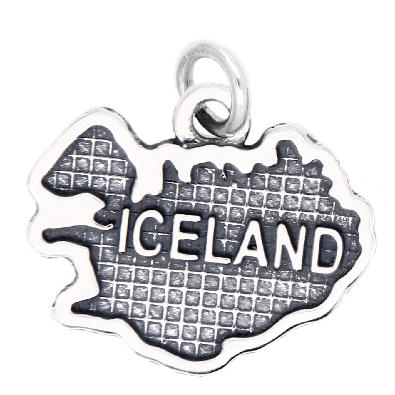 Sterling Silver Oxidized Travel Map of Iceland Charm