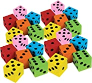 Kicko Foam Dice Set - 24 Pack of Assorted Colorful Big Square Blocks - Perfect for Building, Educational Toys, Math Teaching