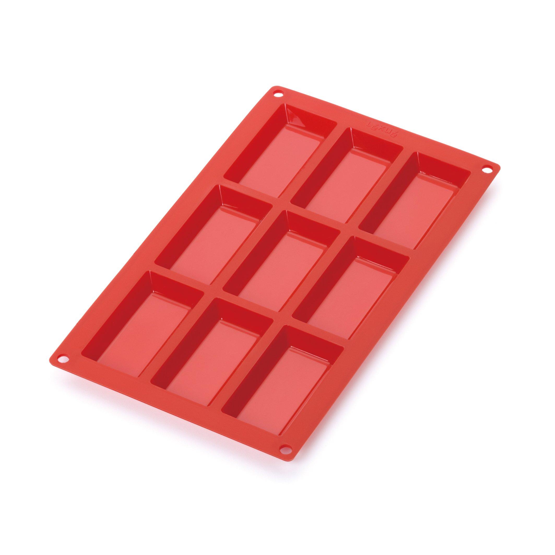 Lekue 9 Cavities Financier Multi Cavity Baking Mold, Red